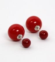 Pendientes Doble Perla Roja