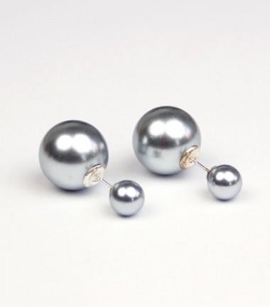 Pendientes Doble Bola Gris Azulado Metalizado