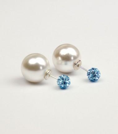 Pendientes Doble Perla Cristal Azul