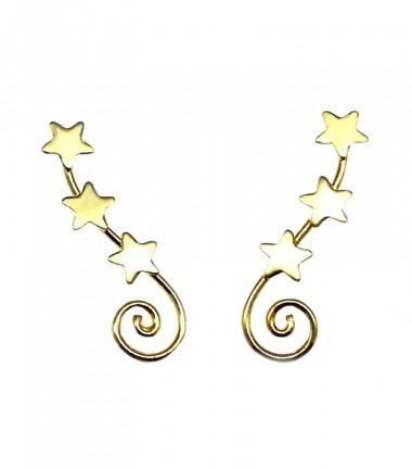 Pendientes Trepadores Espiral Estrellas Baño Oro