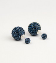 Pendientes Doble Bola Cristal Azul