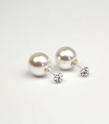Pendientes Doble Perla Cristal