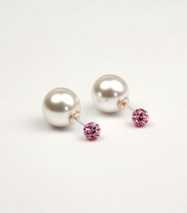 Pendientes Doble Perla Cristal Rosa